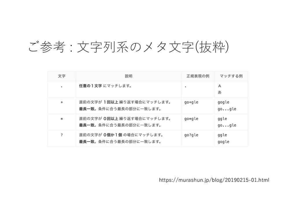 ご参考 : ⽂字列系のメタ⽂字(抜粋) https://murashun.jp/blog/20...