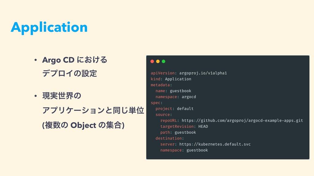 Application • Argo CD ʹ͓͚Δ σϓϩΠͷઃఆ • ݱ࣮ੈքͷ Ξϓ...