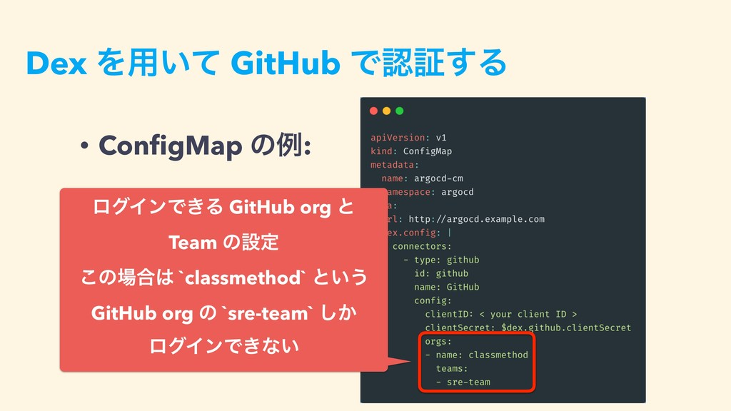 Dex Λ༻͍ͯ GitHub Ͱূ͢Δ • ConfigMap ͷྫ: ϩάΠϯͰ͖Δ Gi...