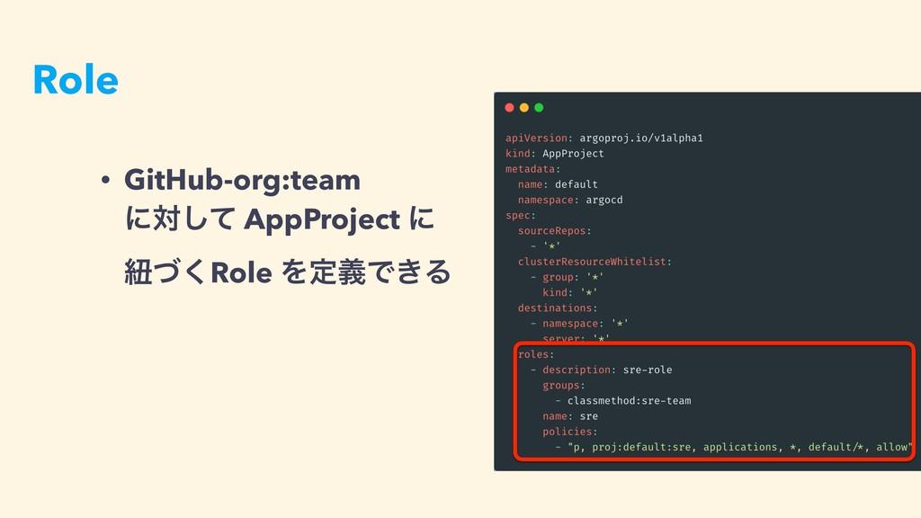 Role • GitHub-org:team ʹରͯ͠ AppProject ʹ ඥͮ͘R...