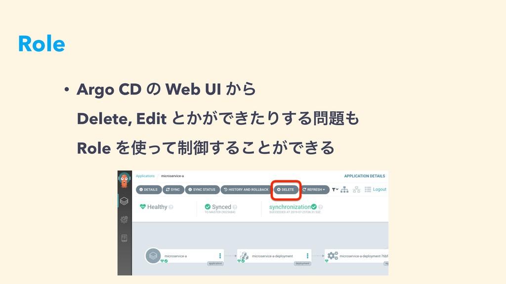 Role • Argo CD ͷ Web UI ͔Β Delete, Edit ͱ͔͕Ͱ͖ͨ...