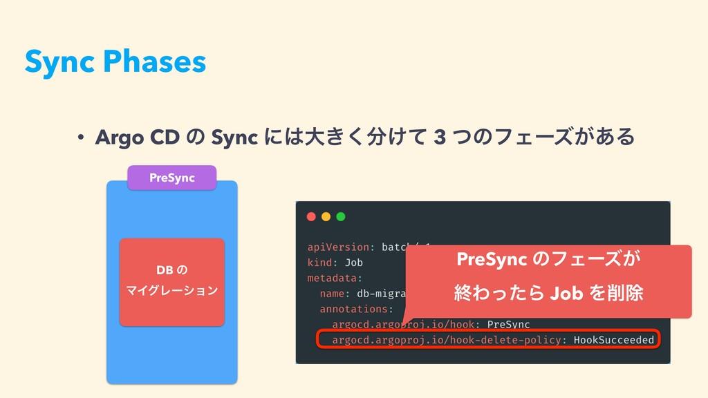 • Argo CD ͷ Sync ʹେ͖͚ͯ͘ 3 ͭͷϑΣʔζ͕͋Δɹ PreSync ...