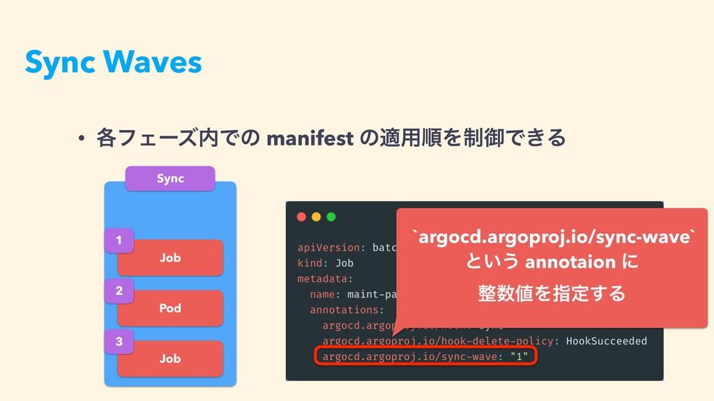 Sync Waves Sync Job Pod Job 1 2 3 • ֤ϑΣʔζͰͷ ma...