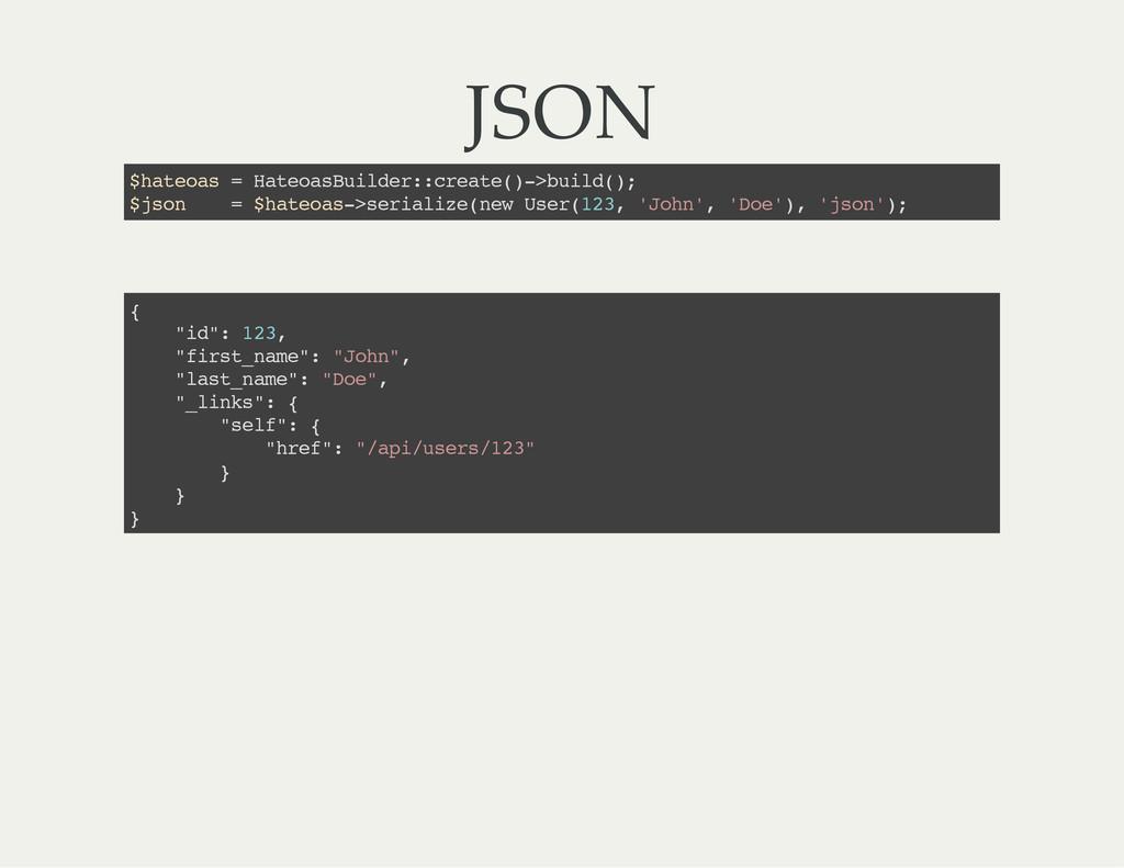 JSON $ h a t e o a s = H a t e o a s B u i l d ...