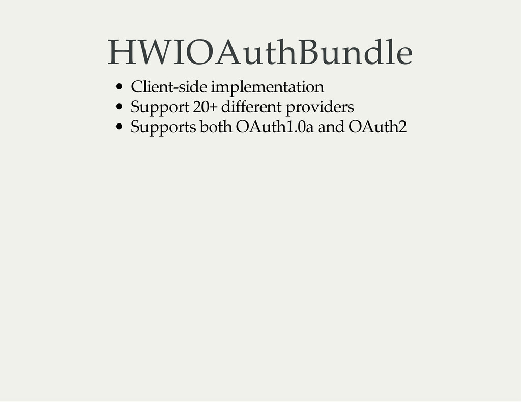 HWIOAuthBundle Client‑side implementation Suppo...