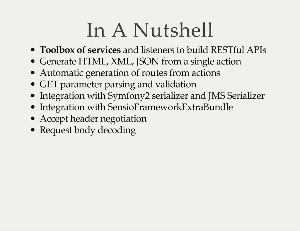 In A Nutshell Toolbox of services and listeners...