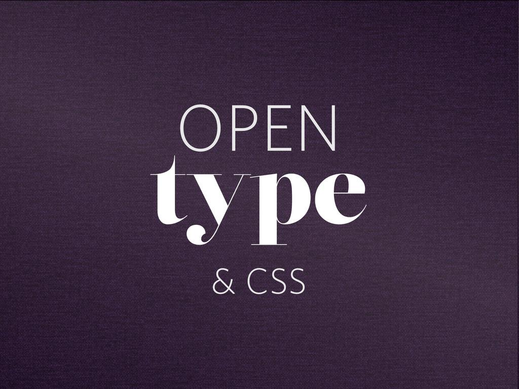 OPEN type & CSS