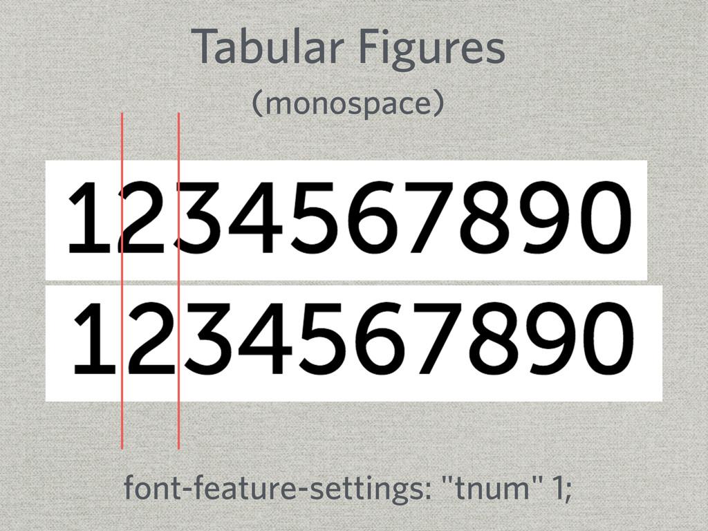 Tabular Figures (monospace) font-feature-settin...