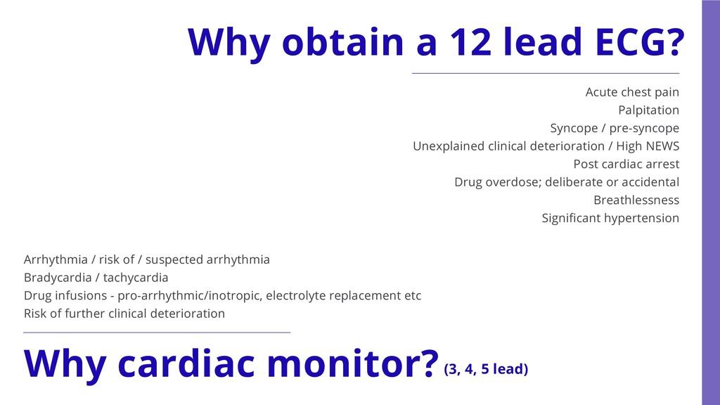 Why obtain a 12 lead ECG? Acute chest pain Palp...