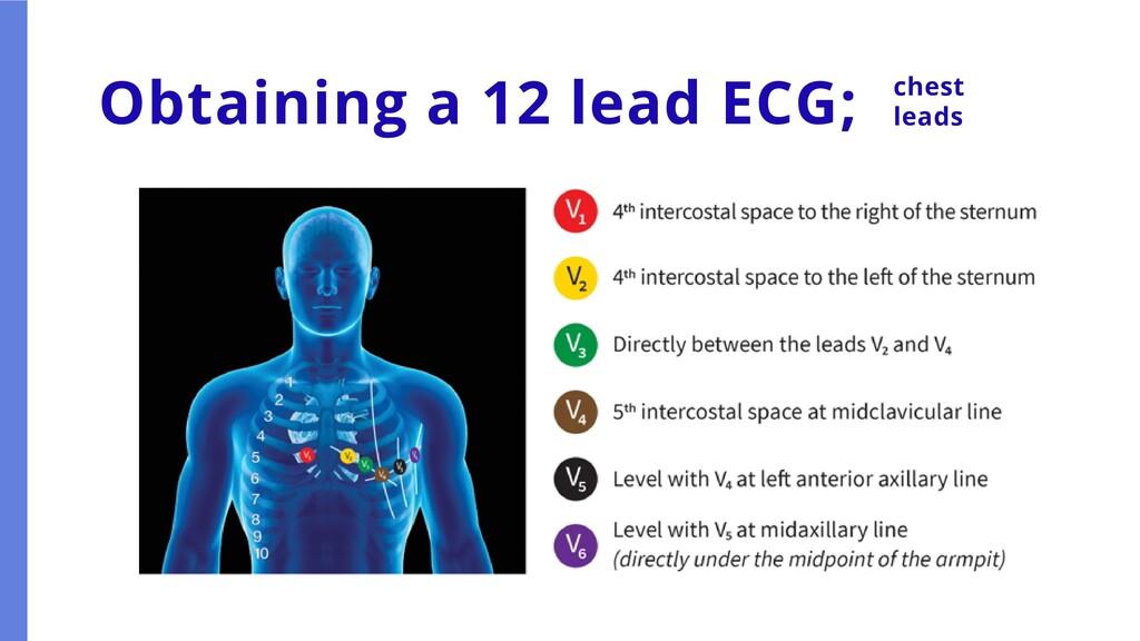 Obtaining a 12 lead ECG; chest leads