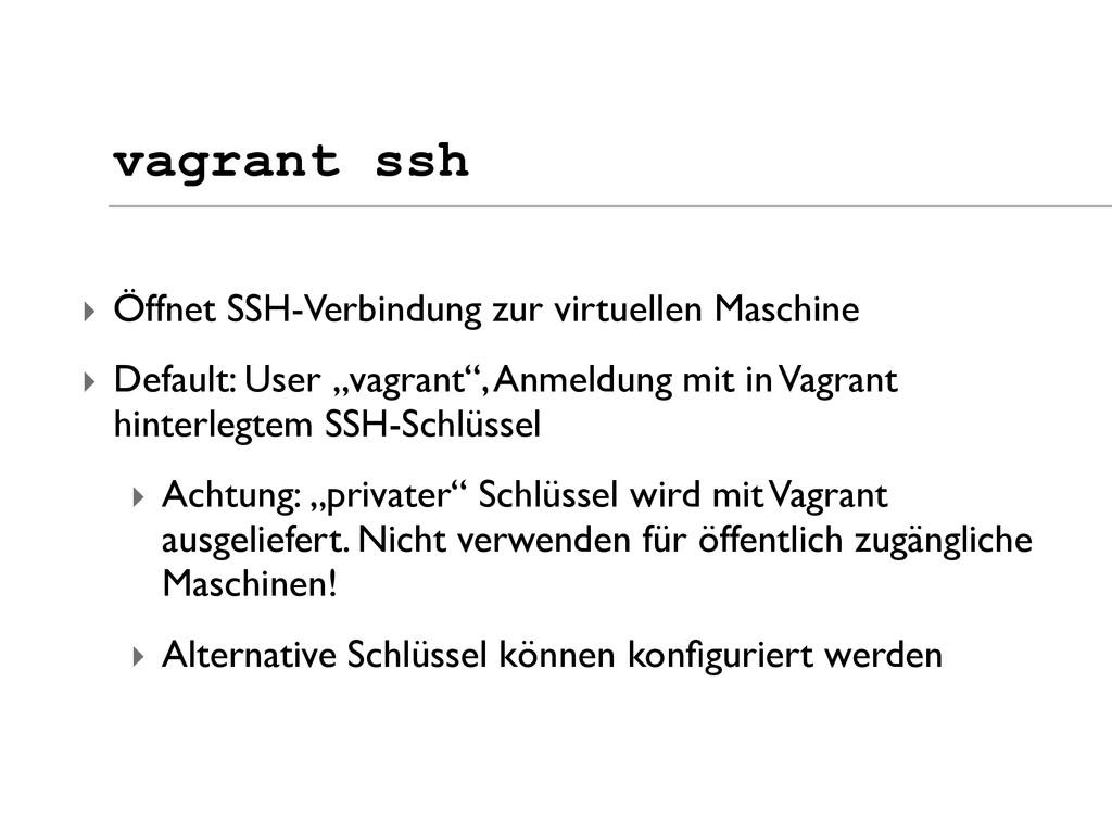 ‣ Öffnet SSH-Verbindung zur virtuellen Maschine...