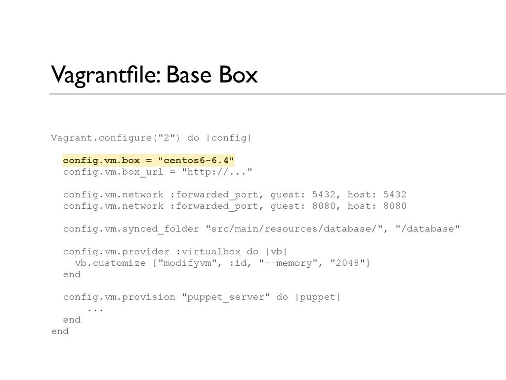 "Vagrantfile: Base Box Vagrant.configure(""2"") do ..."