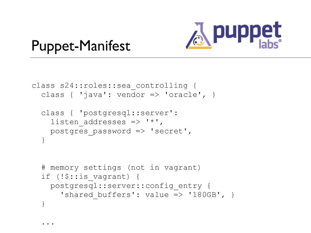 Puppet-Manifest class s24::roles::sea_controlli...