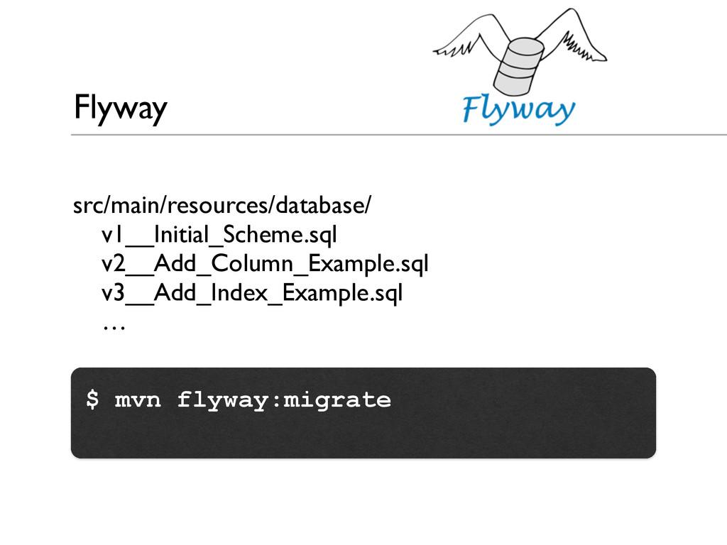 Flyway src/main/resources/database/  v1__Init...