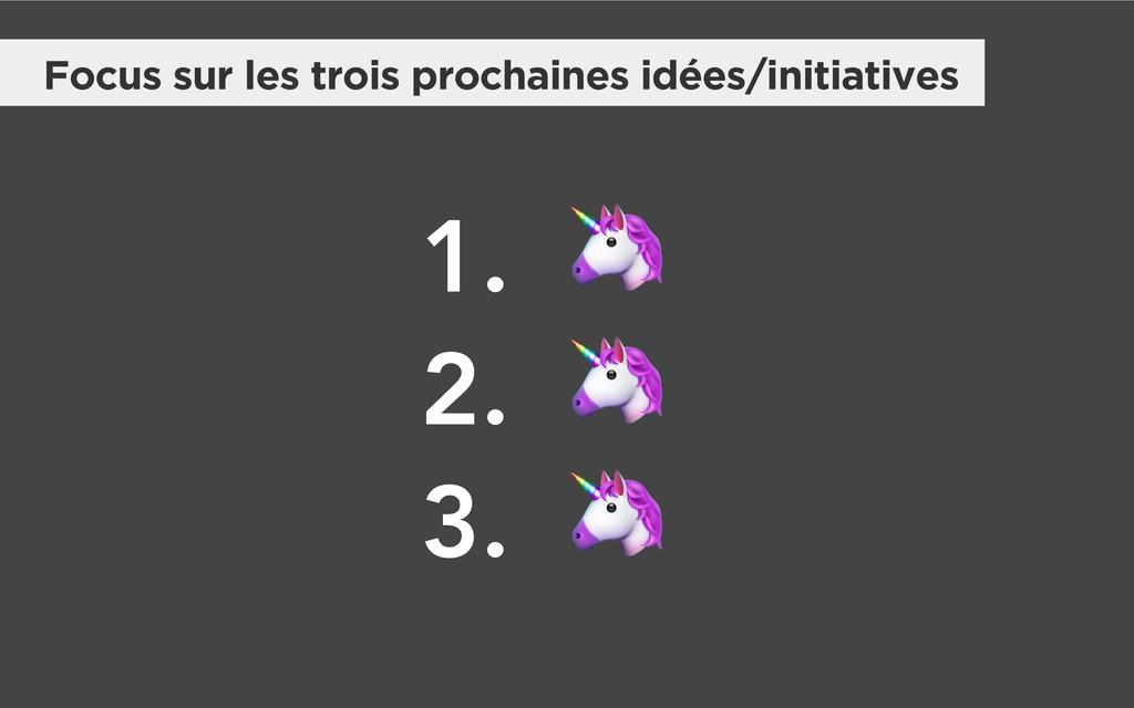 Focus sur les trois prochaines idées/initiative...