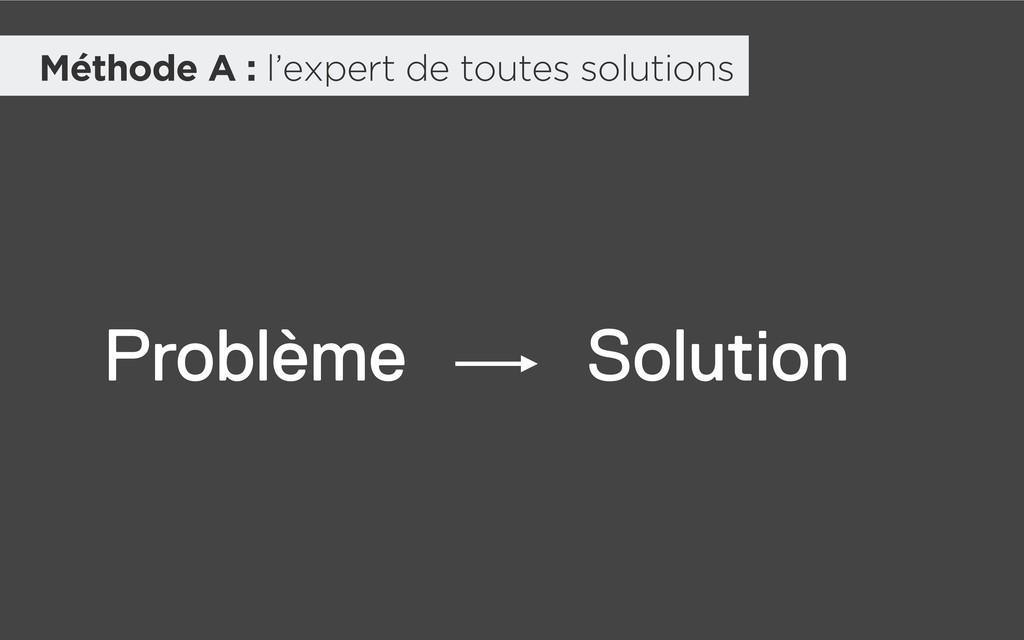 Méthode A : l'expert de toutes solutions Problè...