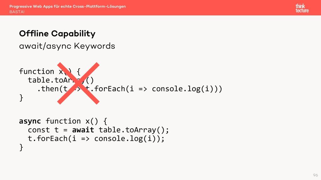 await/async Keywords function x() { table.toArr...