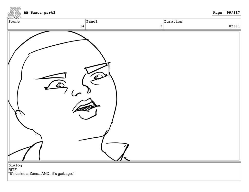 "Scene 14 Panel 3 Duration 02:11 Dialog BITZ ""It..."