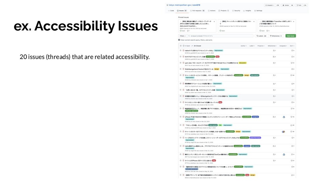 ex. Accessibility Issues 20 issues (threads) th...