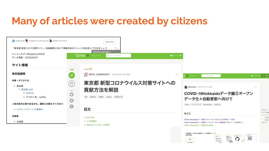 Many of articles were created by citizens
