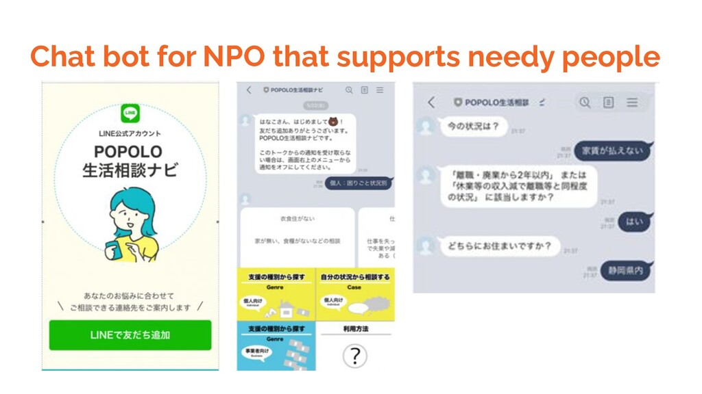 Chat bot for NPO that supports needy people