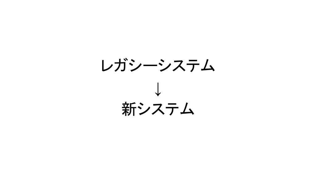 レガシーシステム ↓ 新システム
