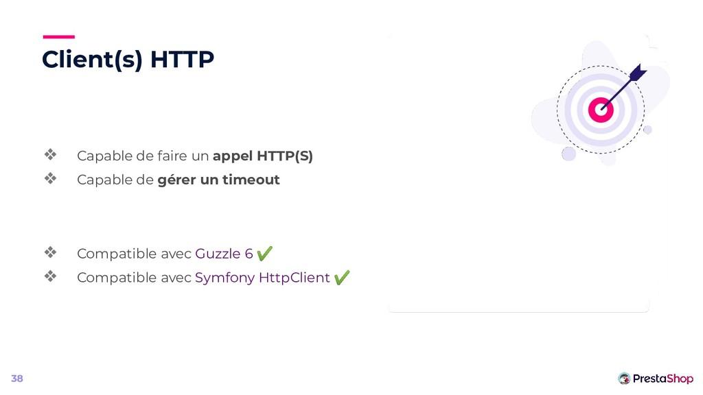 Client(s) HTTP ❖ Capable de faire un appel HTTP...