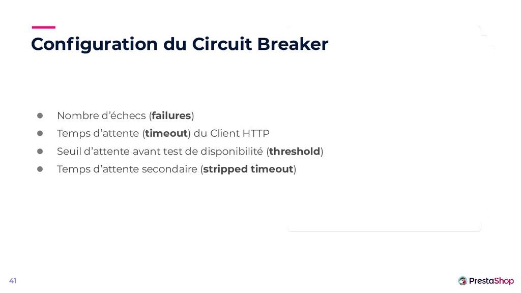 Configuration du Circuit Breaker 41 ● Nombre d'é...
