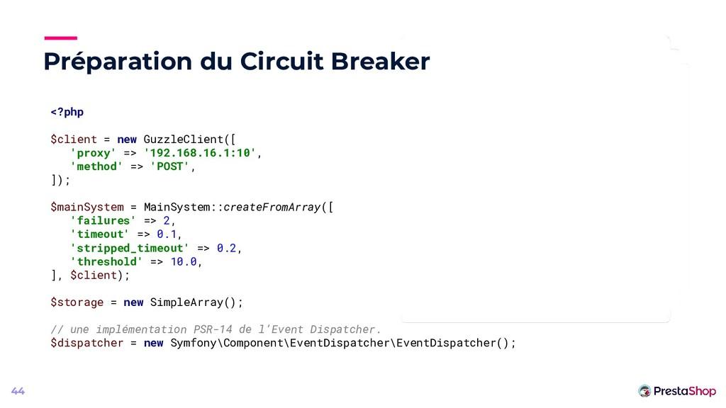 Préparation du Circuit Breaker 44 <?php $client...