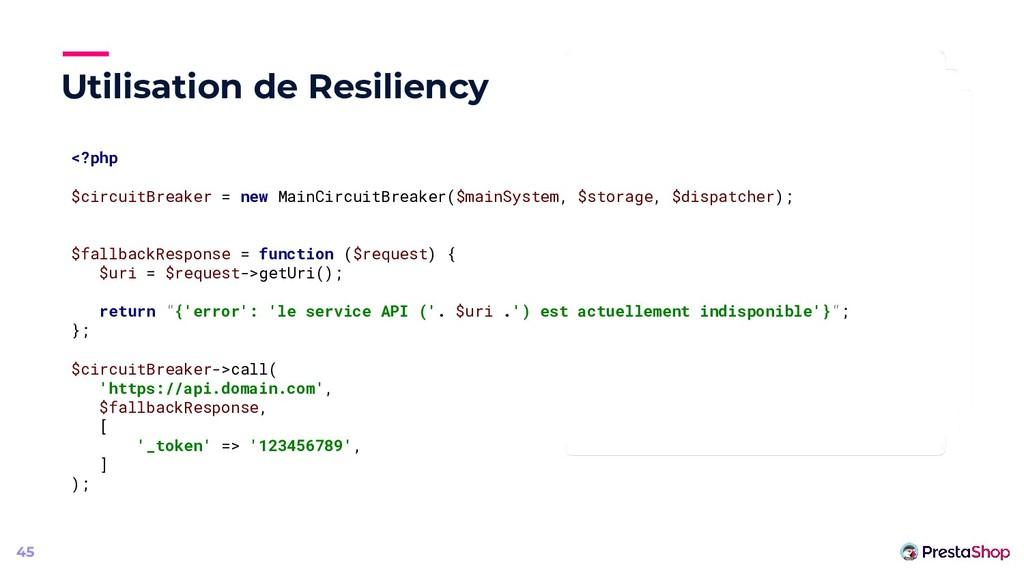 Utilisation de Resiliency 45 <?php $circuitBrea...