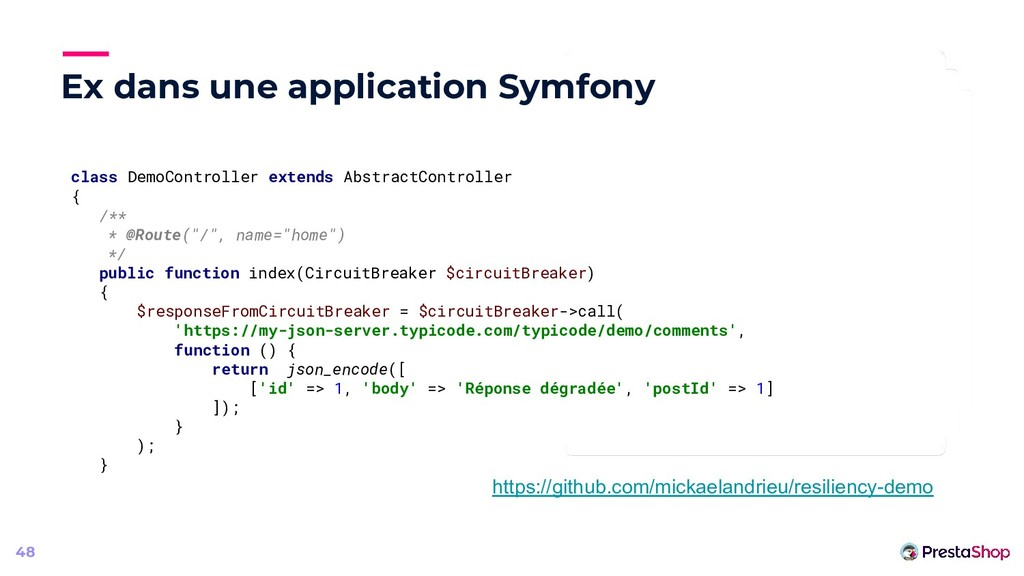 Ex dans une application Symfony 48 class DemoCo...