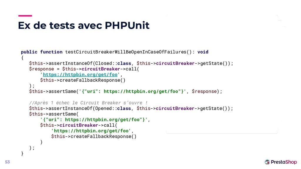 Ex de tests avec PHPUnit 53 public function tes...