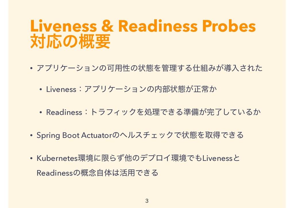 Liveness & Readiness Probes ରԠͷ֓ཁ • ΞϓϦέʔγϣϯͷՄ༻...