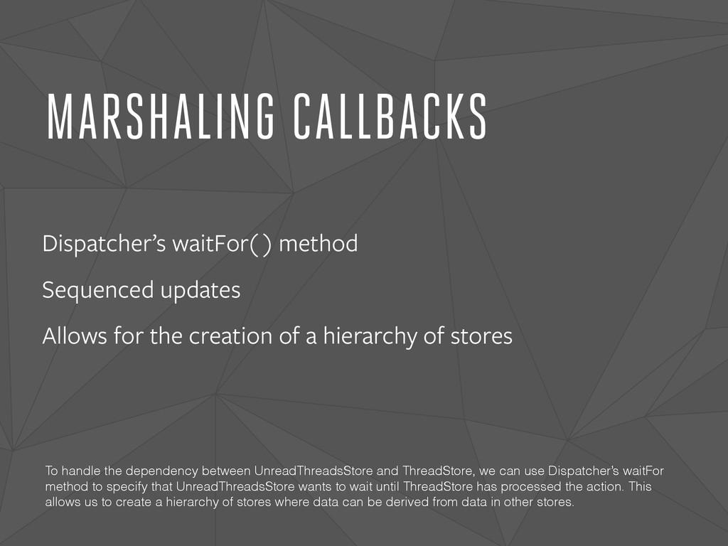 MARSHALING CALLBACKS Dispatcher's waitFor( ) me...