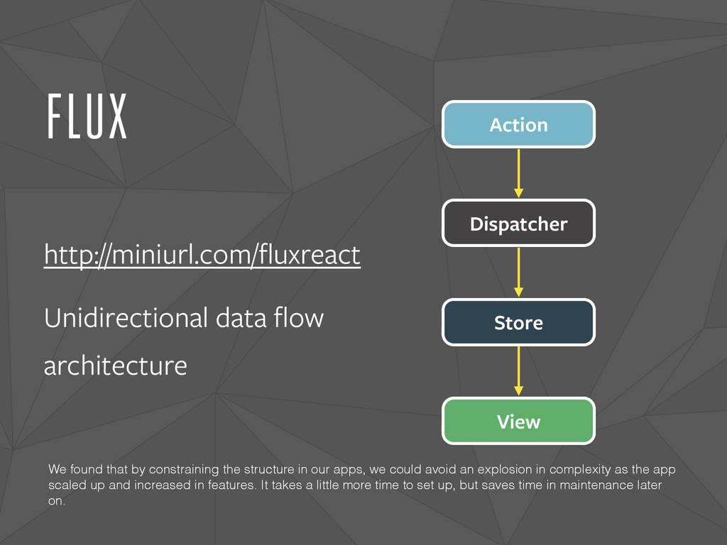 FLUX http://miniurl.com/fluxreact Unidirectional...