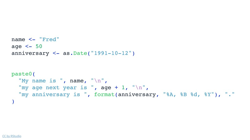 """CC by RStudio name <- """"Fred"""" age <- 50 annivers..."""
