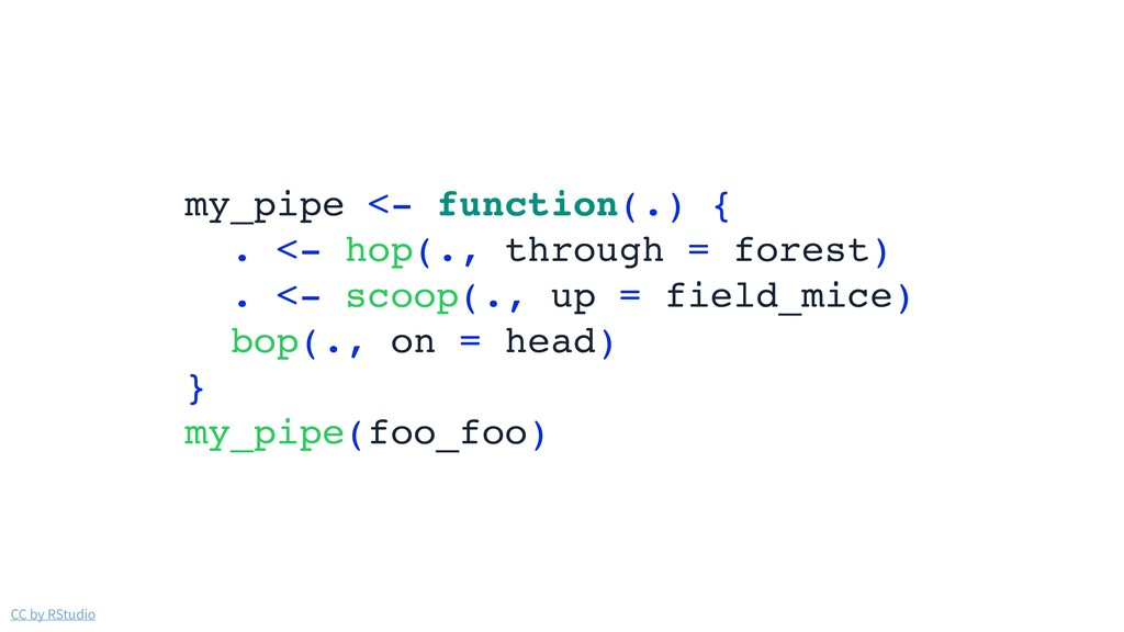 CC by RStudio my_pipe <- function(.) { . <- hop...