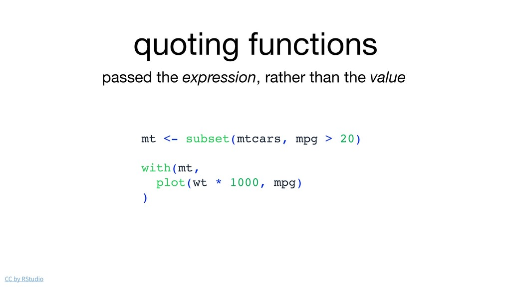 quoting functions passed the expression, rather...