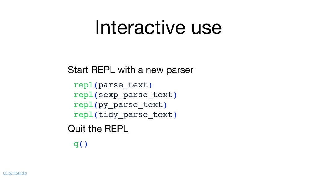 Interactive use Start REPL with a new parser  r...