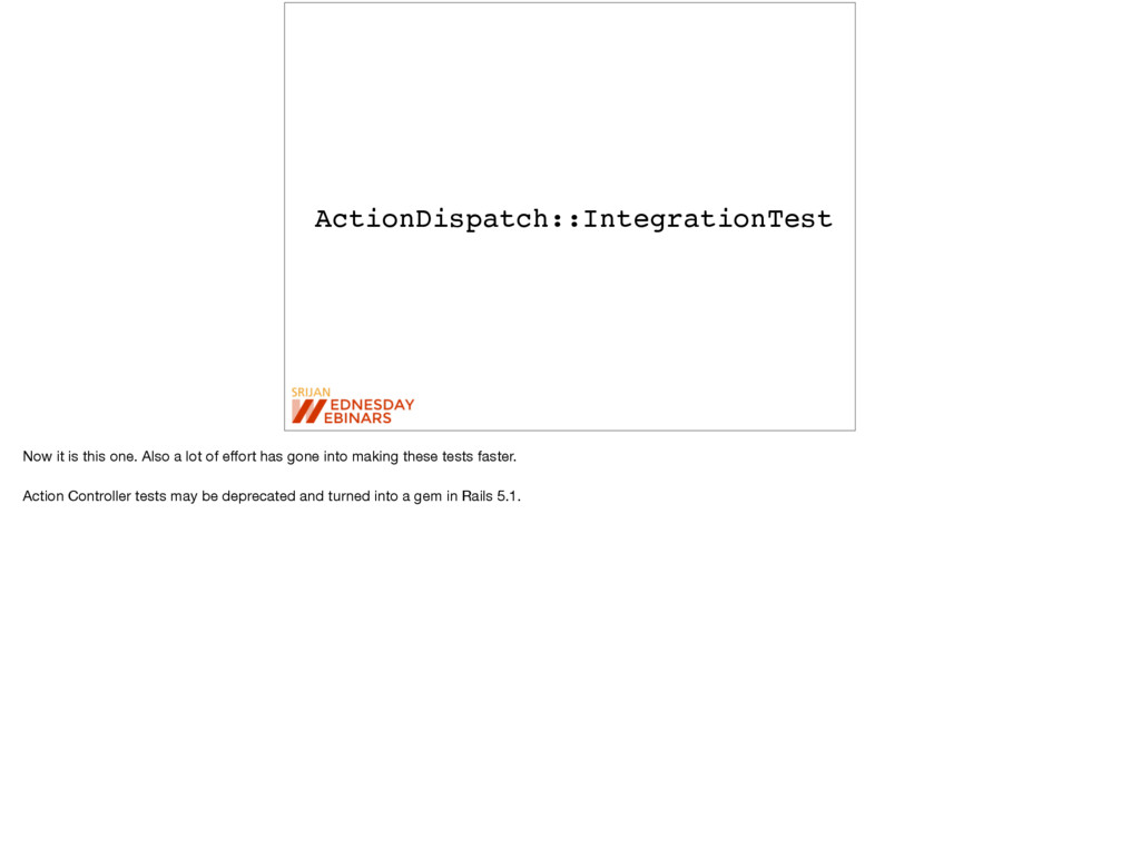 ActionDispatch::IntegrationTest Now it is this ...