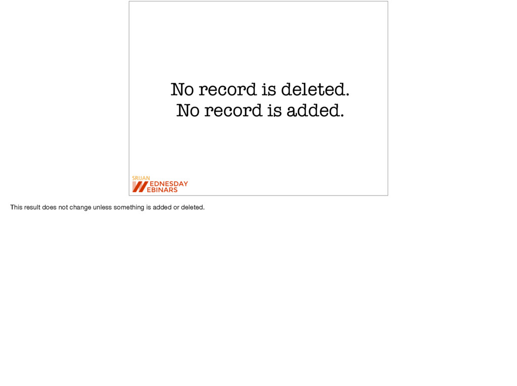 No record is deleted. No record is added. This ...