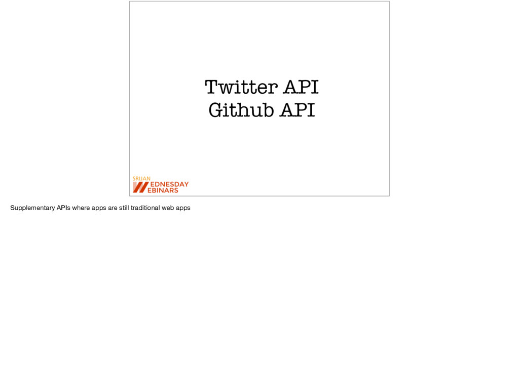Twitter API Github API Supplementary APIs where...