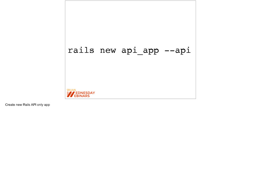 rails new api_app --api Create new Rails API on...