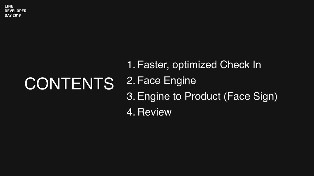 CONTENTS 1. Faster, optimized Check In 2. Face ...