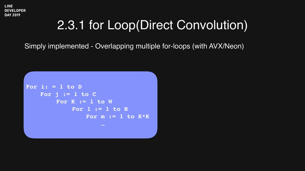 2.3.1 for Loop(Direct Convolution) Simply imple...