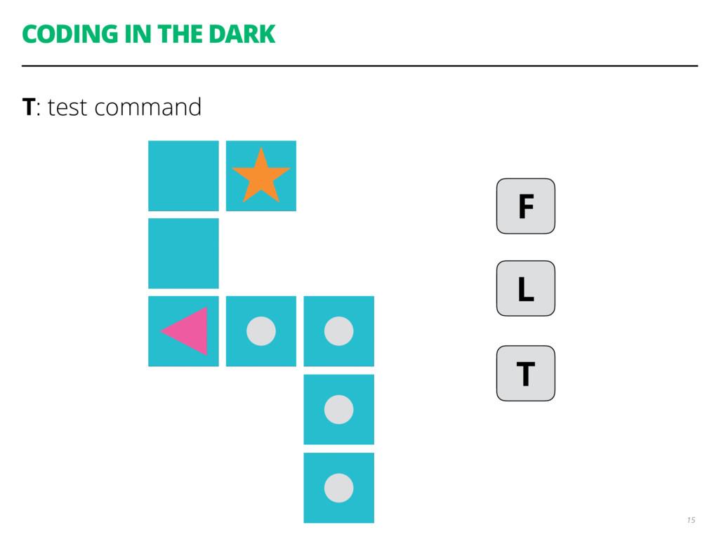 CODING IN THE DARK T: test command 15 F L T