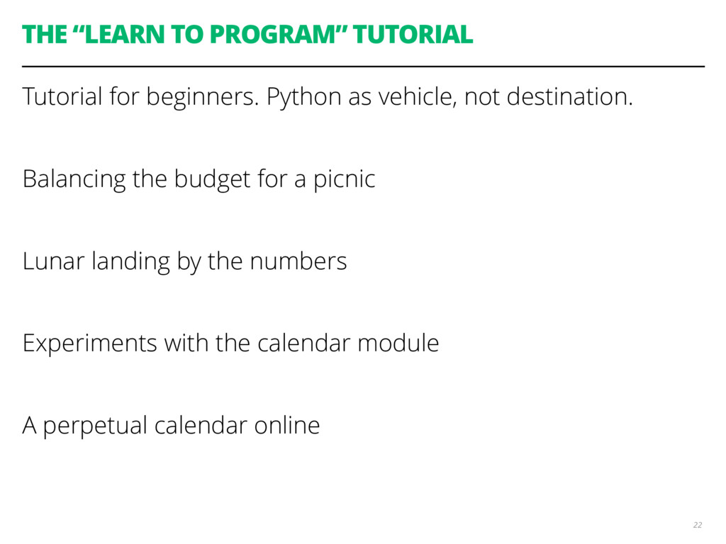 """THE """"LEARN TO PROGRAM"""" TUTORIAL Tutorial for be..."""