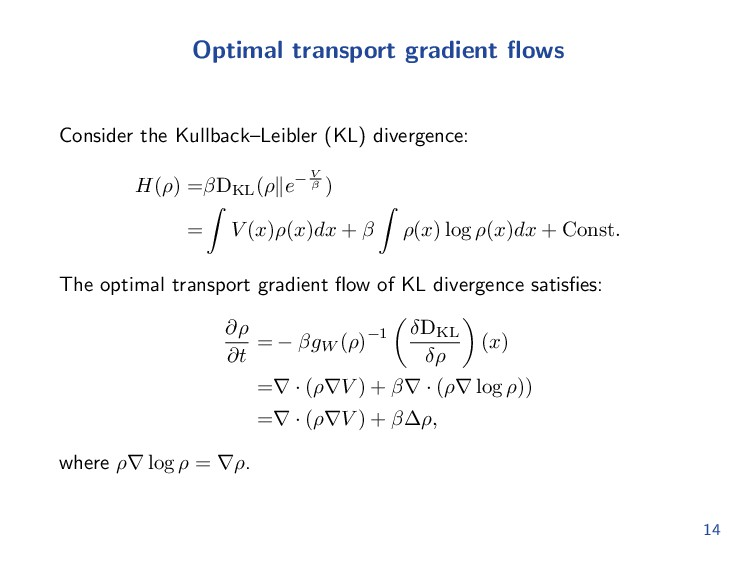 Variational structure Optimal transport has an ...