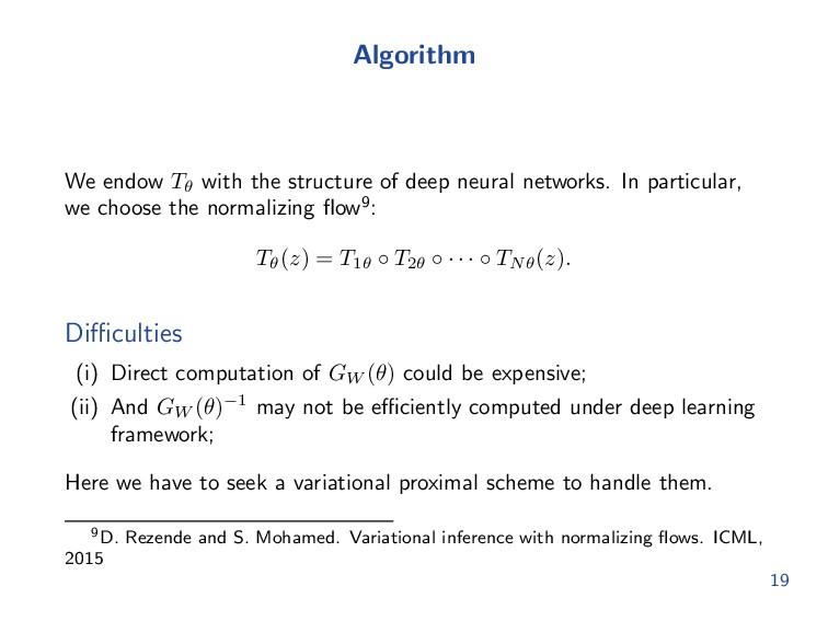 Neural transport information matrix Here GW (θ)...