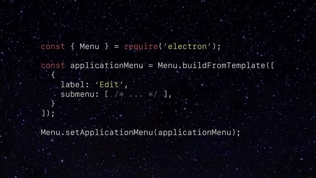 const { Menu } = require('electron'); const app...